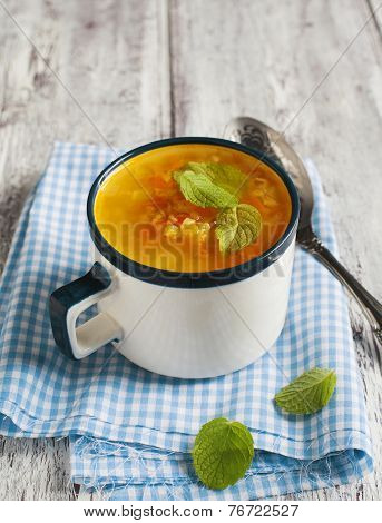 Carrot And Ginger Soup With Red Lentils