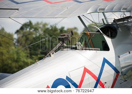 Machine Gun On A Vintage Hawker Demonbi-plane
