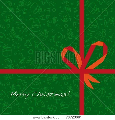 Vector merry christmas greeting card, wrapping paper pattern with gift bow.