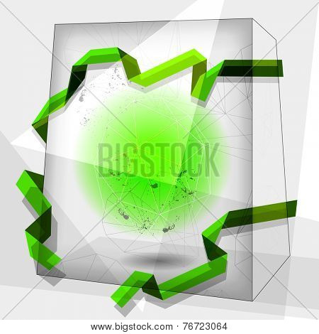 Vector abstract cube shape background, geometric illustration, green colors. Creative background. Design elements.