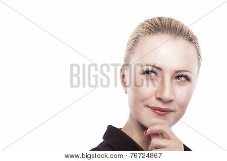 Portrait Of Serious Thoughtful Caucasian Woman Looking Sideways. Isolated Against White Background.