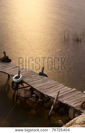 Jetty on Lake Titicaca, Bolivia Lit by the Moonlight