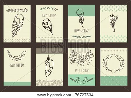 Vector Set of Sketch Plumage