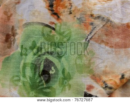 Texture Of Cotton Fabric With Pleats In Beige And Green Tones