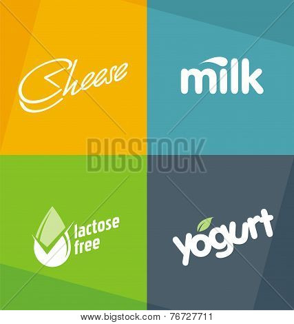 Dairy products logo design templates