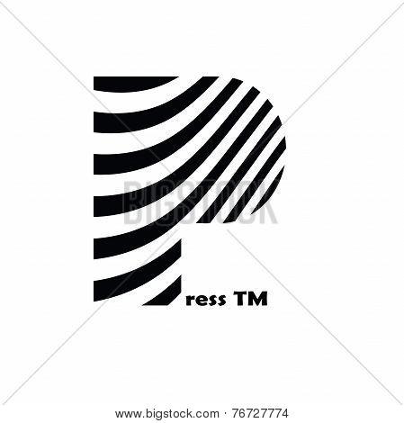 Black and white striped logo