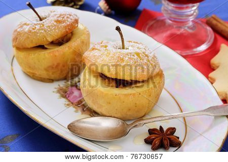 Two Baked Apples As Christmas Dessert