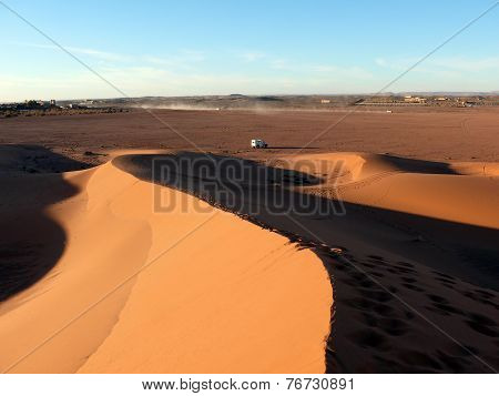 4X4 Drive Car In Sahara Sand Dunes