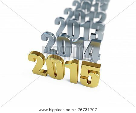 New Year 2015 On A White Background