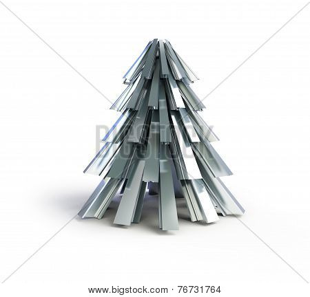 Christmas Tree .fir Tree Metal On A White Background