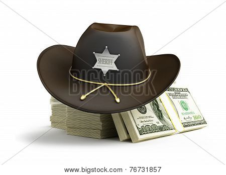Dollar Sheriff Hat On A White Background