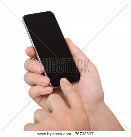 Man Holding Isolated New Iphone 6 Space Gray