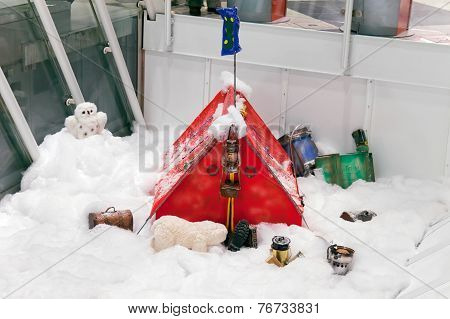 Christmas Ornaments With Red With Tourist Tent In A Snowy Forest