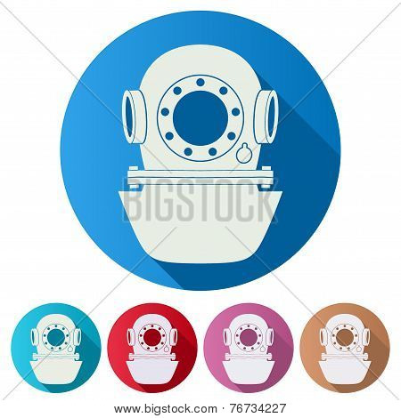 Set Flat icons of Underwater diving helmet. Vector Illustration