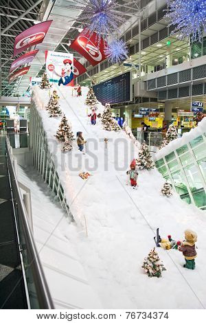 Munich, Germany - December 24, 2009: Christmas Decorations At Munich Airport In Germany.