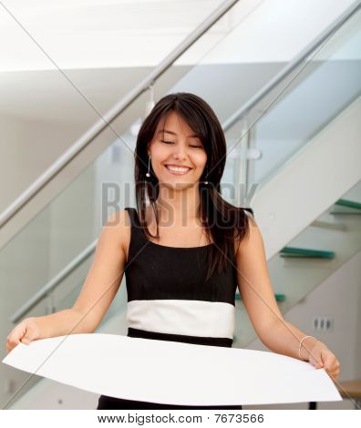 Business Woman Holding A Cardboard