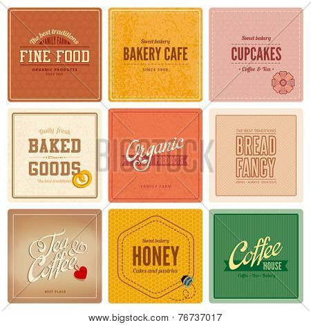 Vintage retro Labels Cafe Restaurant Bar Bakery Logo design vector templates. Coffee, Tea, Bakery, Organic food, cupcakes, Bread badges icons.
