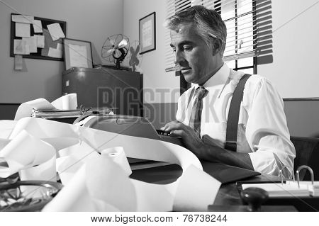 Professional Accountant At Work In Vintage Office
