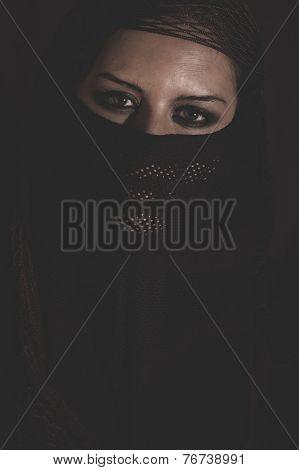 arab woman in traditional Islamic veil, burka, beautiful and deep look