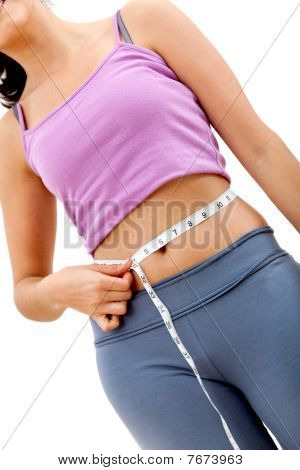 Medición de la cintura de la mujer