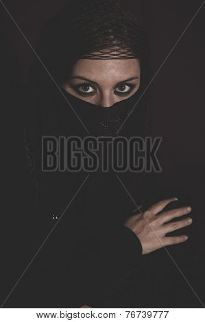 hijab, woman in traditional Islamic veil, burka, beautiful and deep look