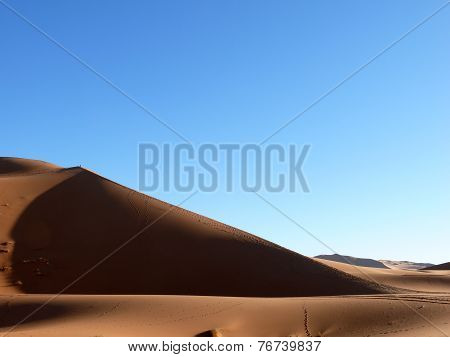 Steep Sand Dune In Moroccan Sahara
