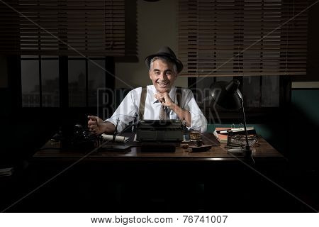 Confident Journalist Working Late At Night