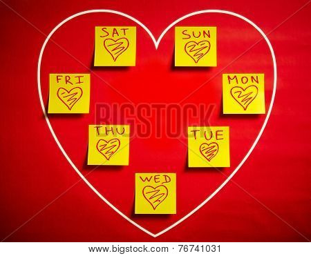 Love Stickers With Heart For All Days Of The Week