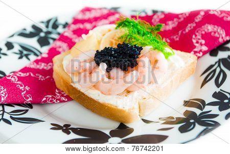 Fresh toast with caviar