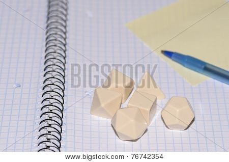 Open Exercise Book With Sticky Card, Pen And Rpg Blank Dices