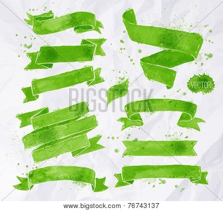 Watercolors ribbons green