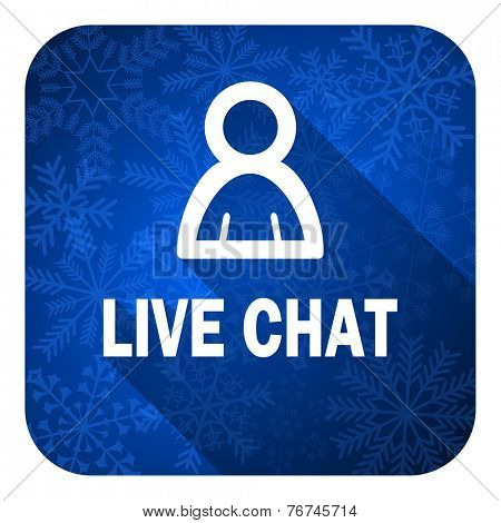 live chat flat icon, christmas button