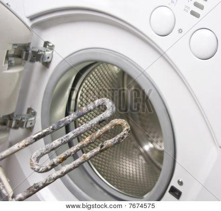 Washing Machine And Damaged Electric Heater