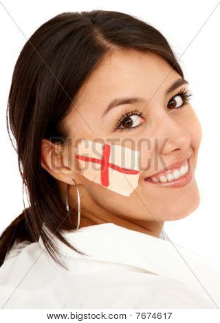 Woman With The English Flag