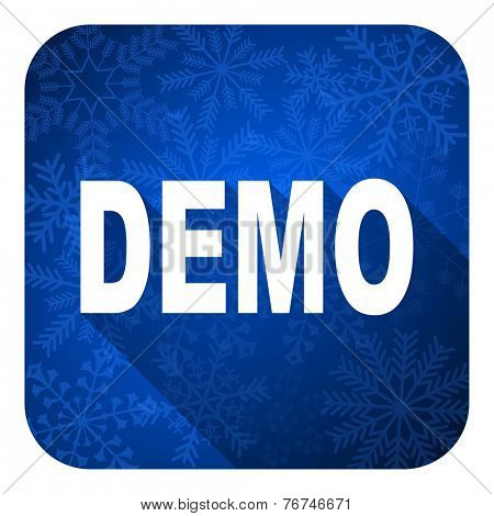 demo flat icon, christmas button