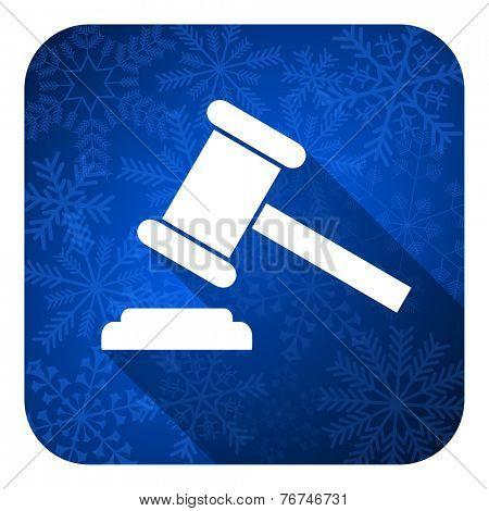 auction flat icon, christmas button, court sign, verdict symbol