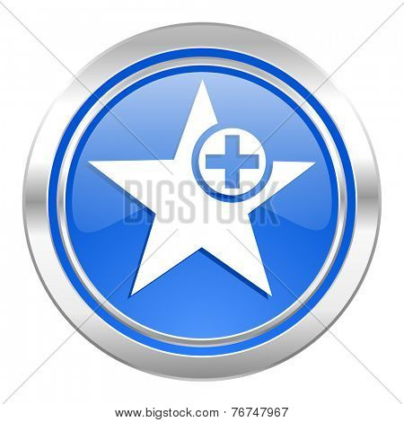 star icon, blue button, add favourite sign
