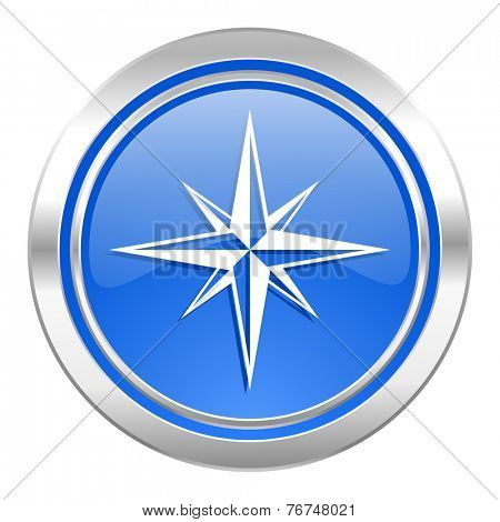 compass icon, blue button