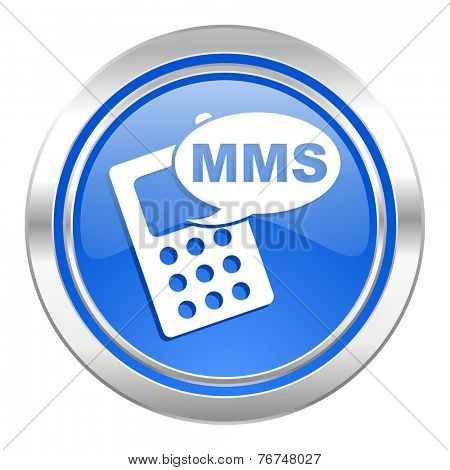 mms icon, blue button, phone sign
