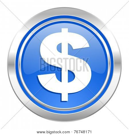 dollar icon, blue button, us dollar sign