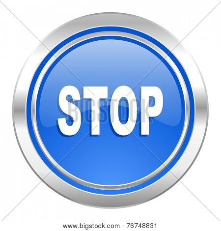 stop icon, blue button