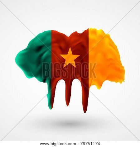 Flag of Cameroon painted colors