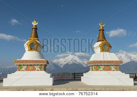 Holy White Stupas At Deqing, Yunnan Province, China.