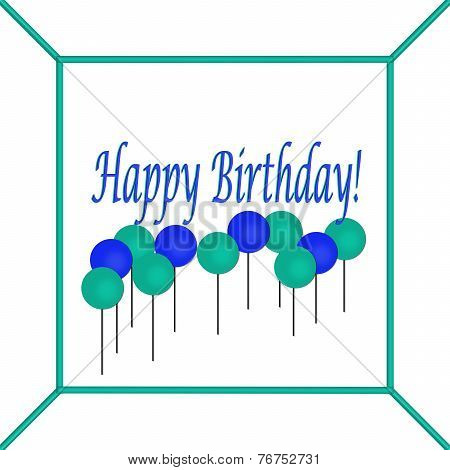 Blue and Teal Happy Birthday