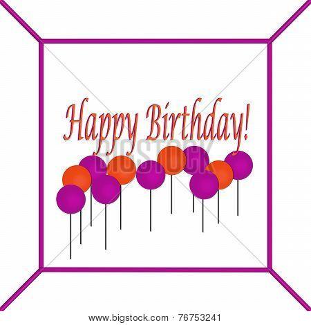 Purple and Orange Happy Birthday Cake