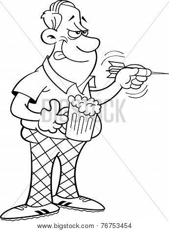 Cartoon man throwing a dart