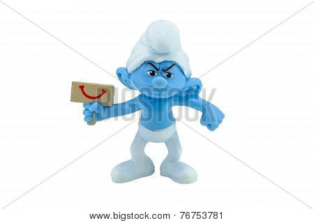 Grouchy Smurf Hold A Happy Sign Toy Figure Model