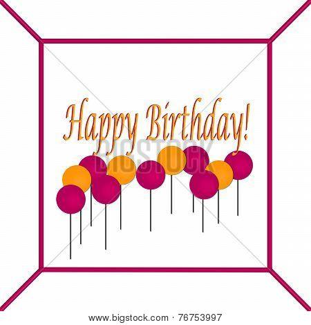 Orange and Dark Pink Birthday Cake Top