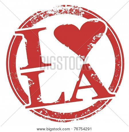 I Love LA symbol with heart in it to symbolize pride and affection for hometown of Los Angeles, or even the state of Louisiana