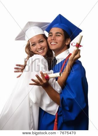 college grads in cap and gown